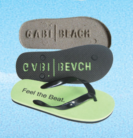 "8074f2317 Fashionable footwear that talks! You ll be the ""talk of the beach"" with  these classic -styled flip-flop designs which have a die-cut debossed sole  that ..."
